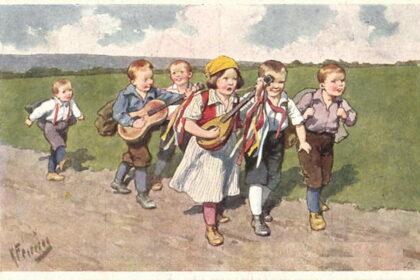 Karl-Feiertag-Mouvement jeunesse randonnée enfants avec guitarre