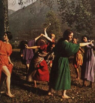Troupe de danseurs de Rudolf Laban à Monte Verità, plaque photographique autochrome de Johann Adam Meisenbach1914
